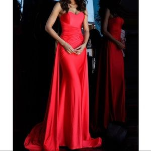Jovani 68641 red overskirt strapless prom
